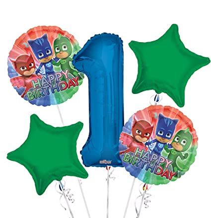 PJ Masks Balloon Bouquet 1st Birthday 5 pcs - Party Supplies