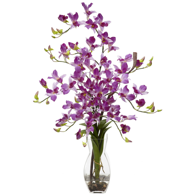 Nearly Natural 1190-PP Dendrobium with Vase Silk Flower Arrangement, Purple