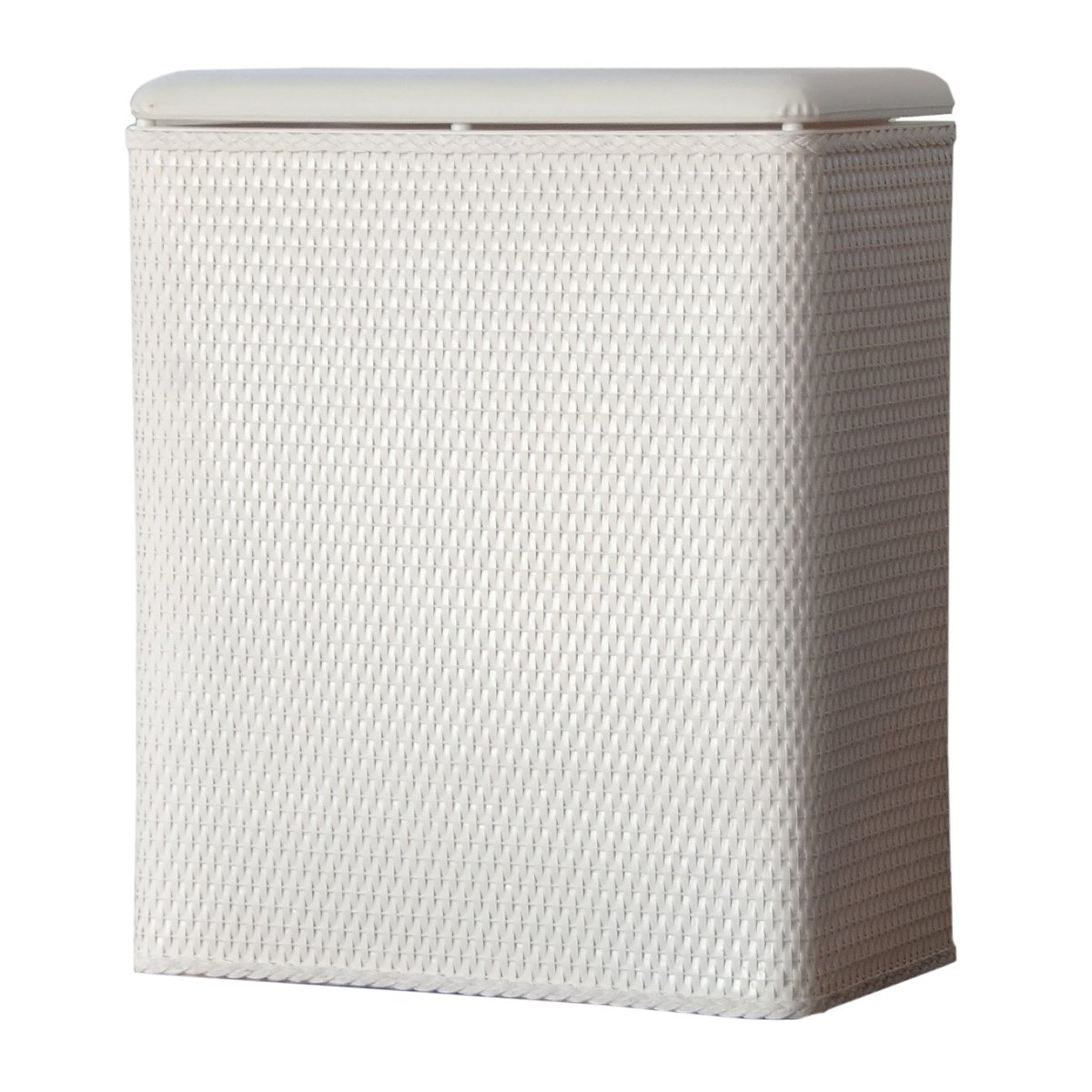 LaMont Home Carter Upright Wicker Laundry Hamper with Coordinating Padded Vinyl Lid, Chocolate 1856048