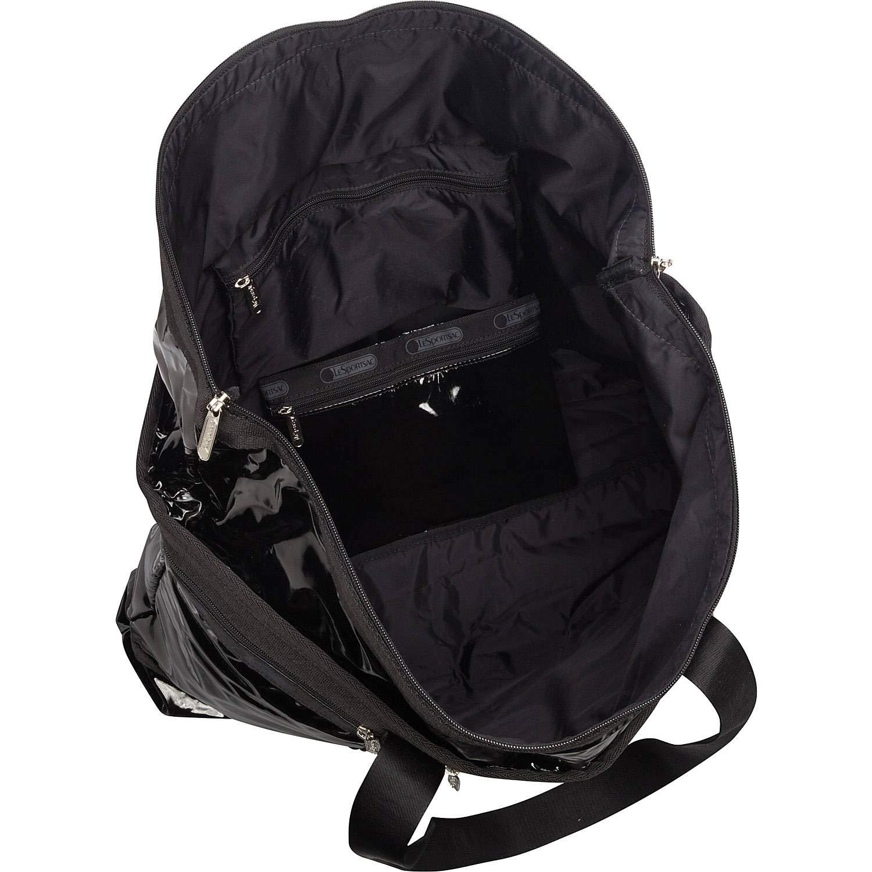 LeSportsac Black Patent Travel Tote + Matching Cosmetic Bag