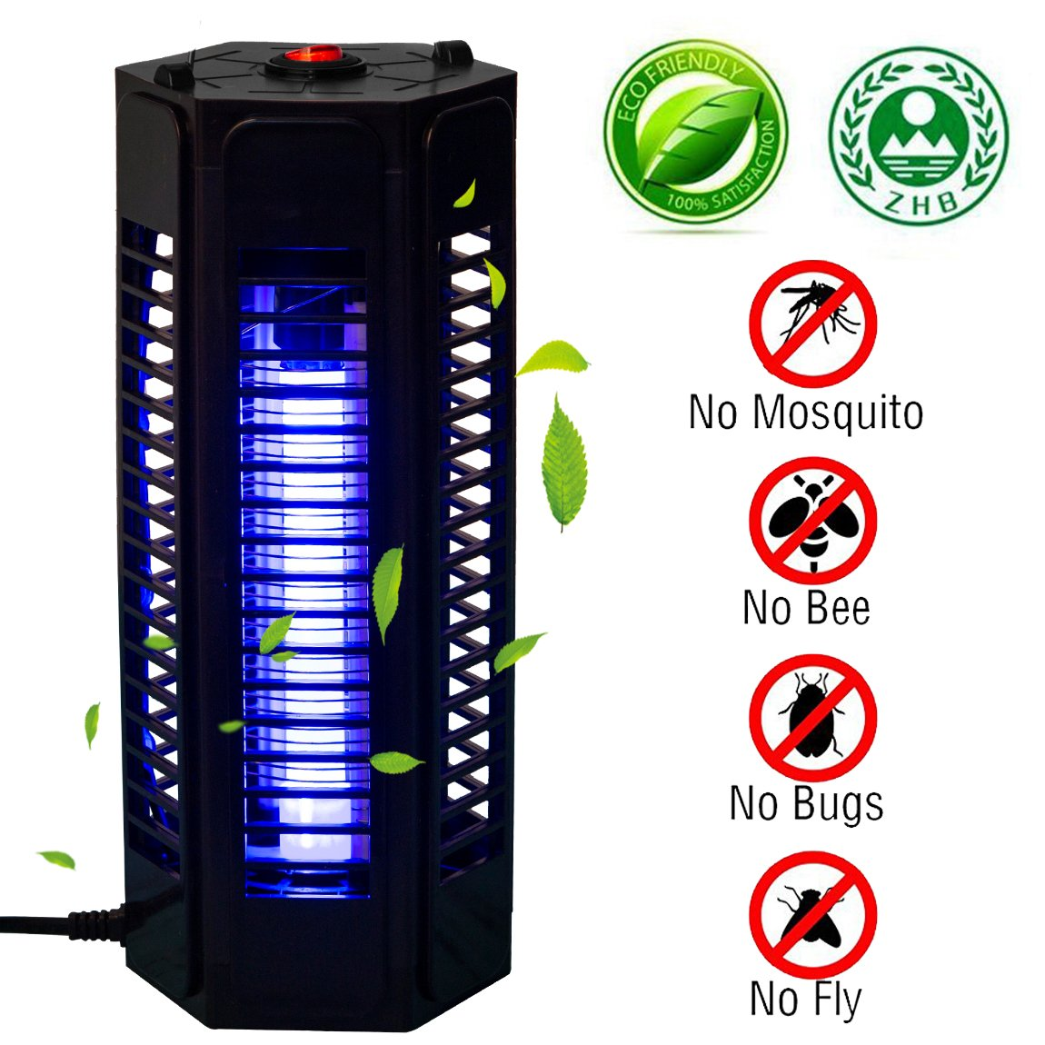 PrettyQueen Indoor Outdoor Mosquito Trap Bug Zapper Electronic Mosquito Killer Lamp Pest Bug Killer Trap Night Light UV LED Insect Fly Killer for Home Garden Camping Travel Black
