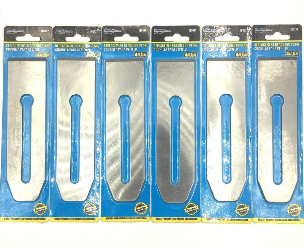 BRUFER 1851276 Replacement Blades 2''-inch wide for No. 4 / No. 5 Bench Planes - BULK PACK OF 6 BLADES
