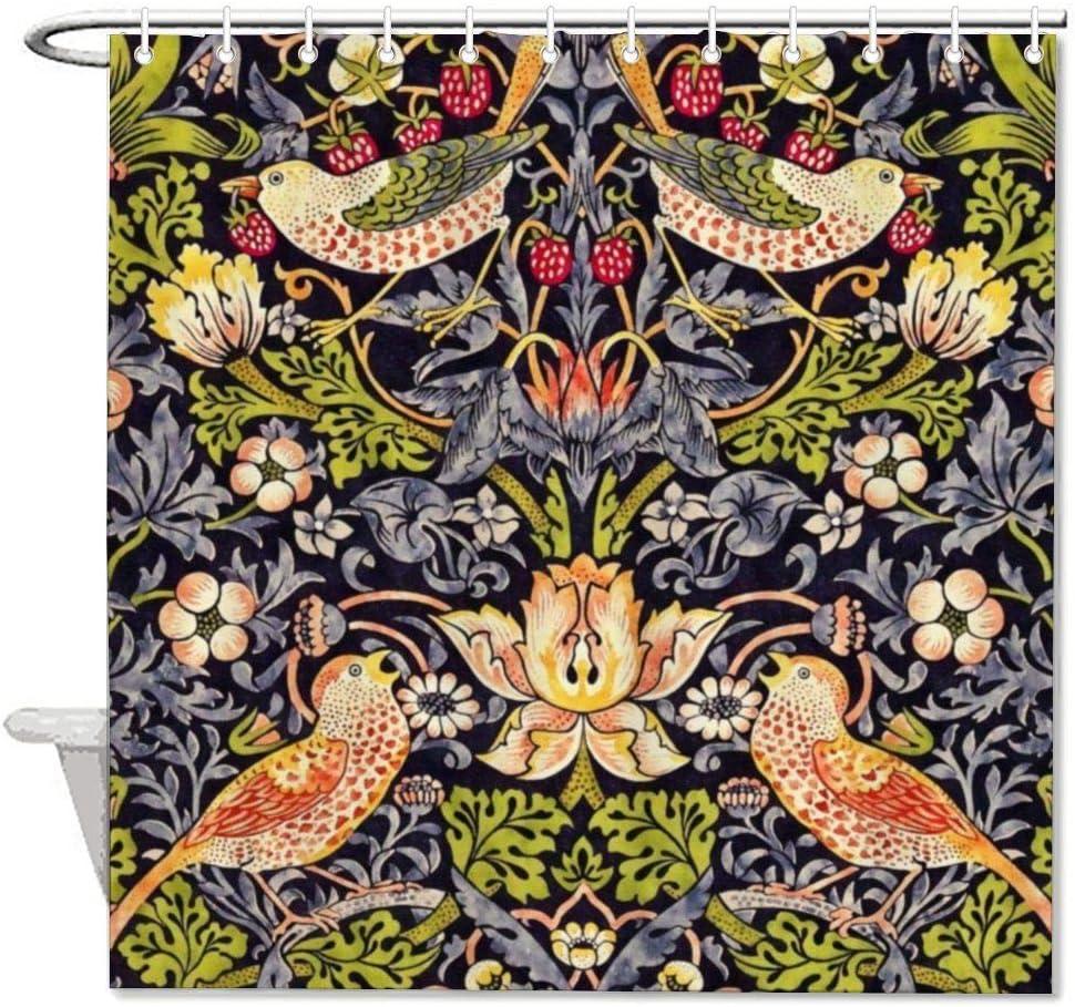 VinMea Bath Curtain William Morris Strawberry Thief Floral Art Nouveau Shower Curtain with Hooks for Bathroom Decor 60