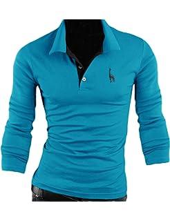 Jueshanzj Homme Polo Rayé à Manches Longues Tee-Shirt Boutonné Noir Large xQy1GQ