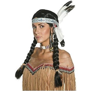 Perruque indien homme avec tresses et bandeau