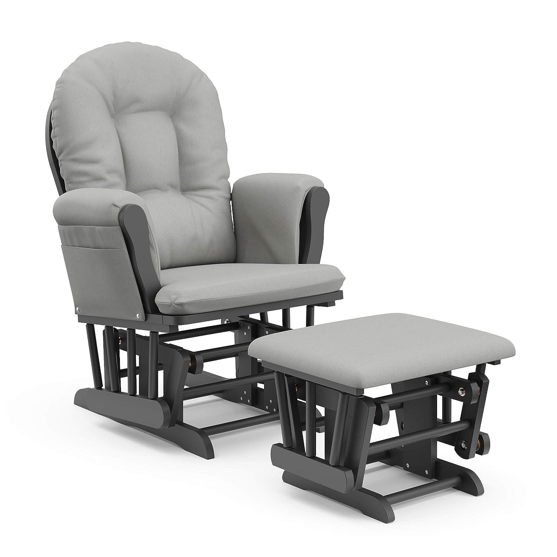 StorkCraft Hoop Glider and Ottoman Cushions, Gray w/Light Gray