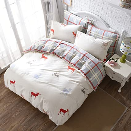 abreeze plaid deer bedding set cotton duvet cover set pillow cases fitted sheet for