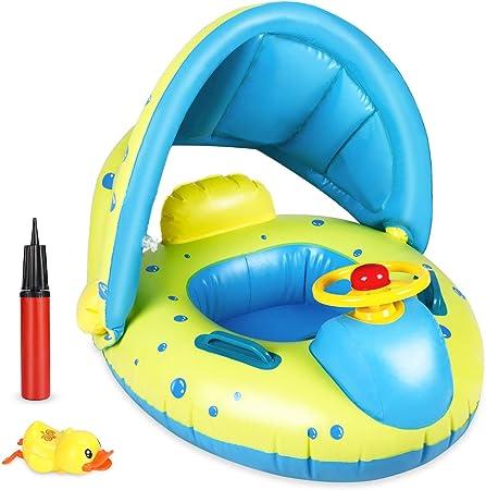 Flotador para Bebé, joylink Anillo de Natación con Toldo, Barco Flotador Divertido de Piscina y Playa, Hinchable Baby Swim Float Boat para Niños de 12 ...