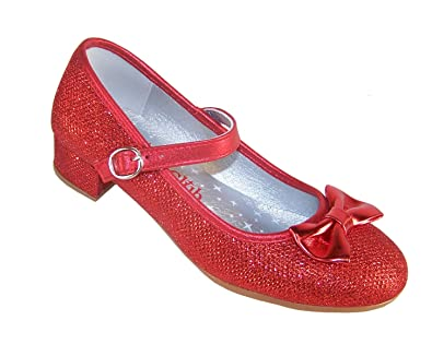 e0461035de0a1 Girls Red Sparkly Glitter Low Heeled Party Shoes for All Special Occasions