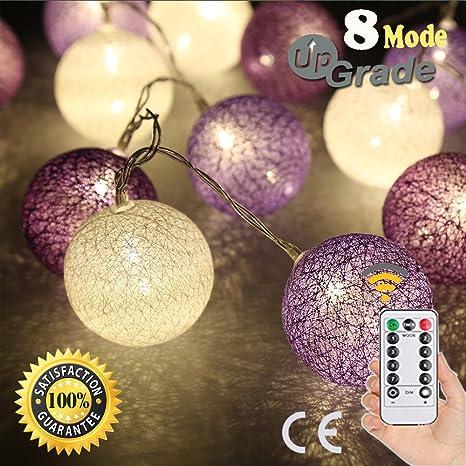 Cadena de Luces LED Decorativas, Morbuy Blanco Cálido A Pilas Guirnalda de Luces con Control