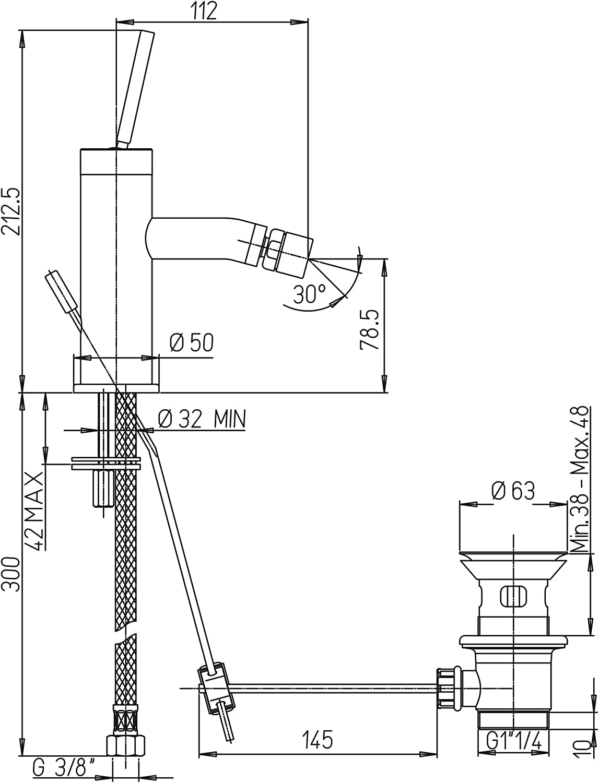 """PAINI COX 78CR306JO Miscelatore monoforo bidet scarico automatico 1/""""1//4"""