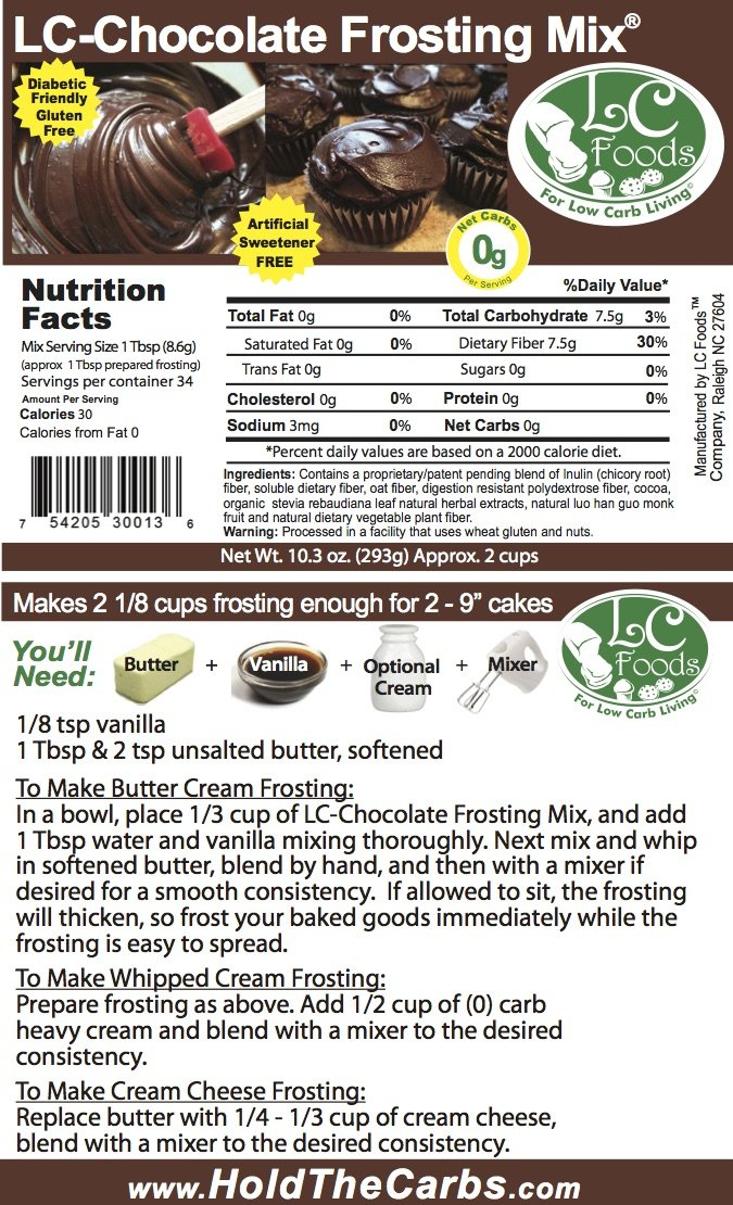Low Carb Chocolate Frosting Mix - LC Foods - All Natural - Gluten Free - No Sugar - Diabetic Friendly - 10.3 oz