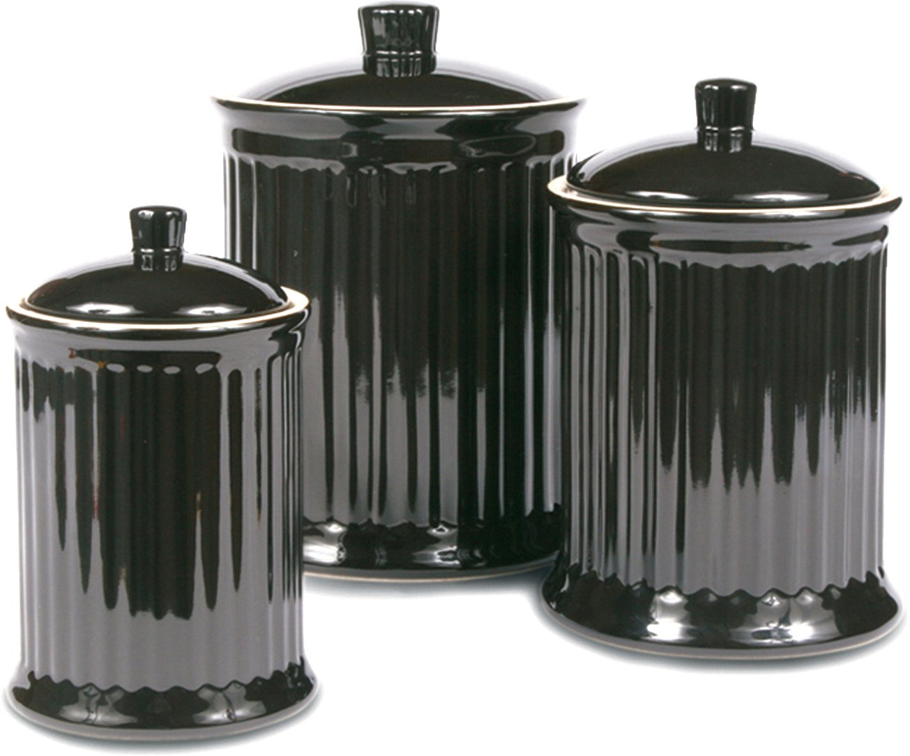 Superbe Amazon.com: OmniWare Simsbury Black Stoneware Canister, Set Of 3: Kitchen  Storage And Organization Product Sets: Kitchen U0026 Dining