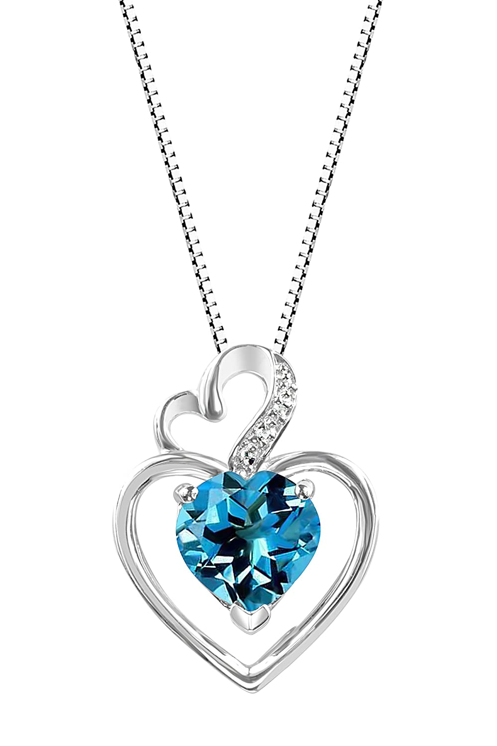 Hdiamonds Sterling Silver Created White Sapphire and Gemstone Double Heart Pendant