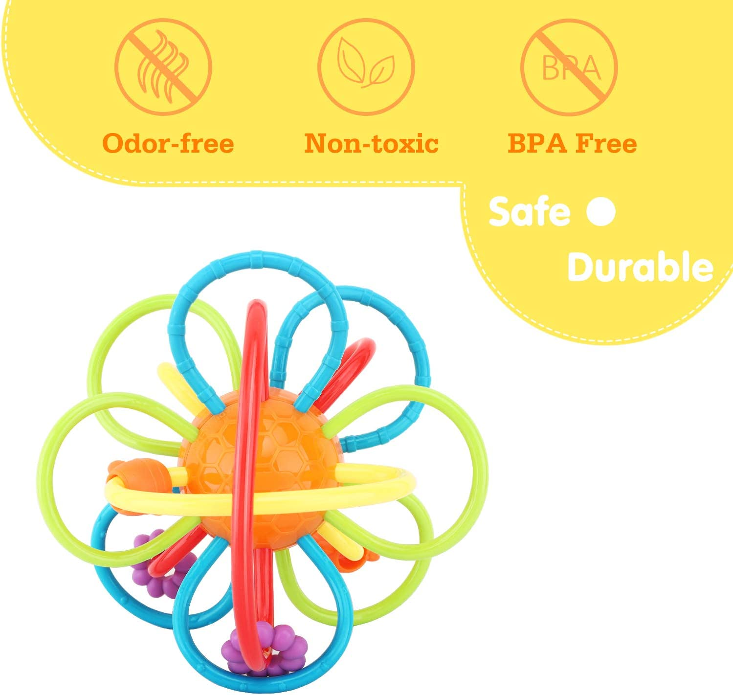 Zooawa Baby Teether Soft Rattle and Sensory Ball Teething Toy for Pain Relief BPA-Free Teether Ball Rattle Toy for Infants and Toddlers Colorful Easy to Hold