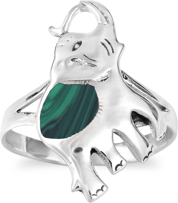 AeraVida Joyful Elephant Malachite Sterling Silver Ring