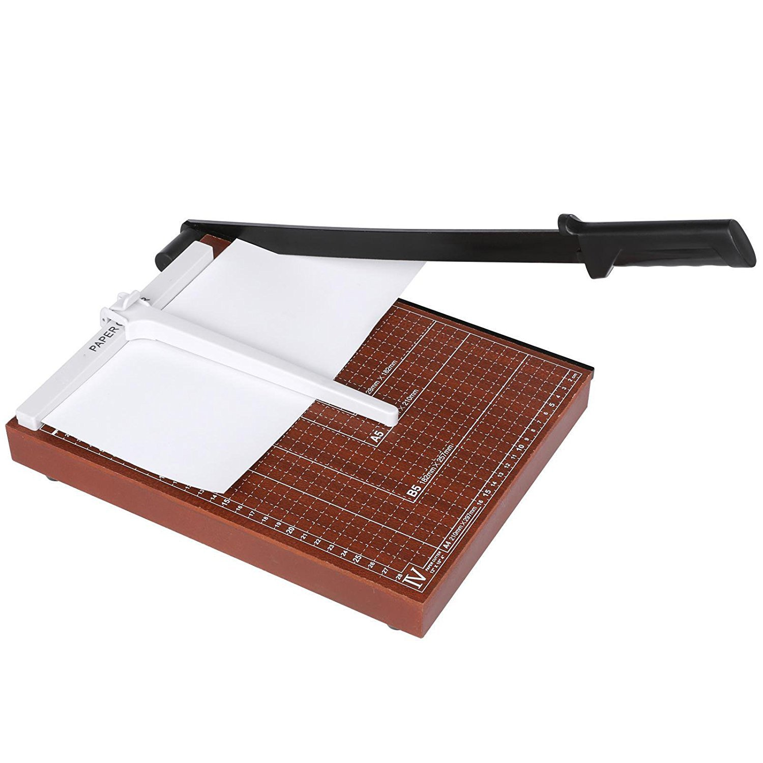 sholdnut Professional Wooden Base A4 Paper Cutter, Heavy Duty Universal Use Paper Cutting Tool, 12 Sheet Capacity - for Home and Office