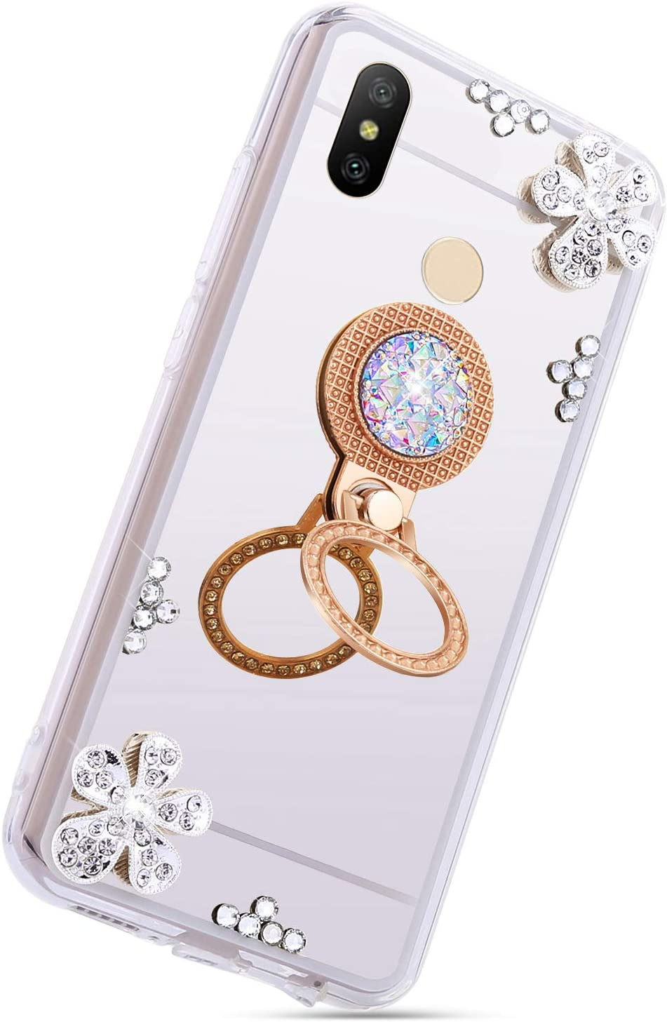 Herbests Compatible with Huawei P20 Lite 2019 Glitter Case Mirror Makeup Case Luxury Crystal Rhinestone Diamond Bling Soft Silicone Rubber TPU Protective Cover with Ring Stand Holder,Gold