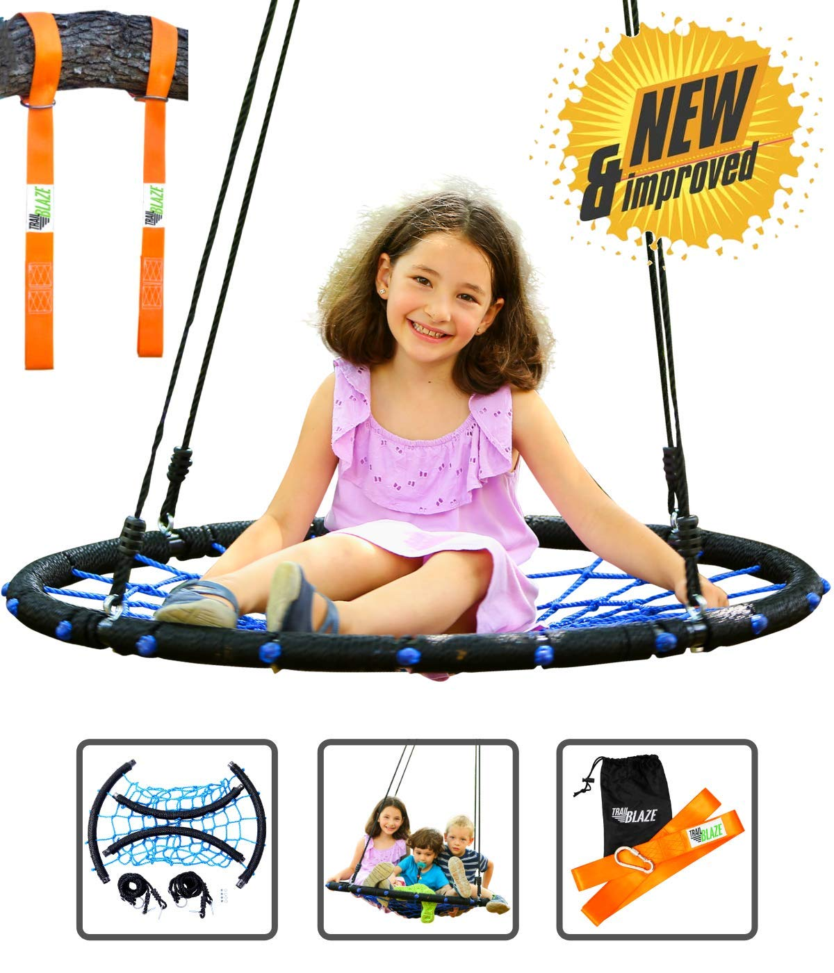 Trailblaze Spider Web Tree Swing - [Upgraded] Double Straps Hanging Kit - Extra Strong Net Disk Swing for Tree Holds 650 lbs - Kids Saucer Tire Swings for Outside Quick & Easy to Install by Trailblaze