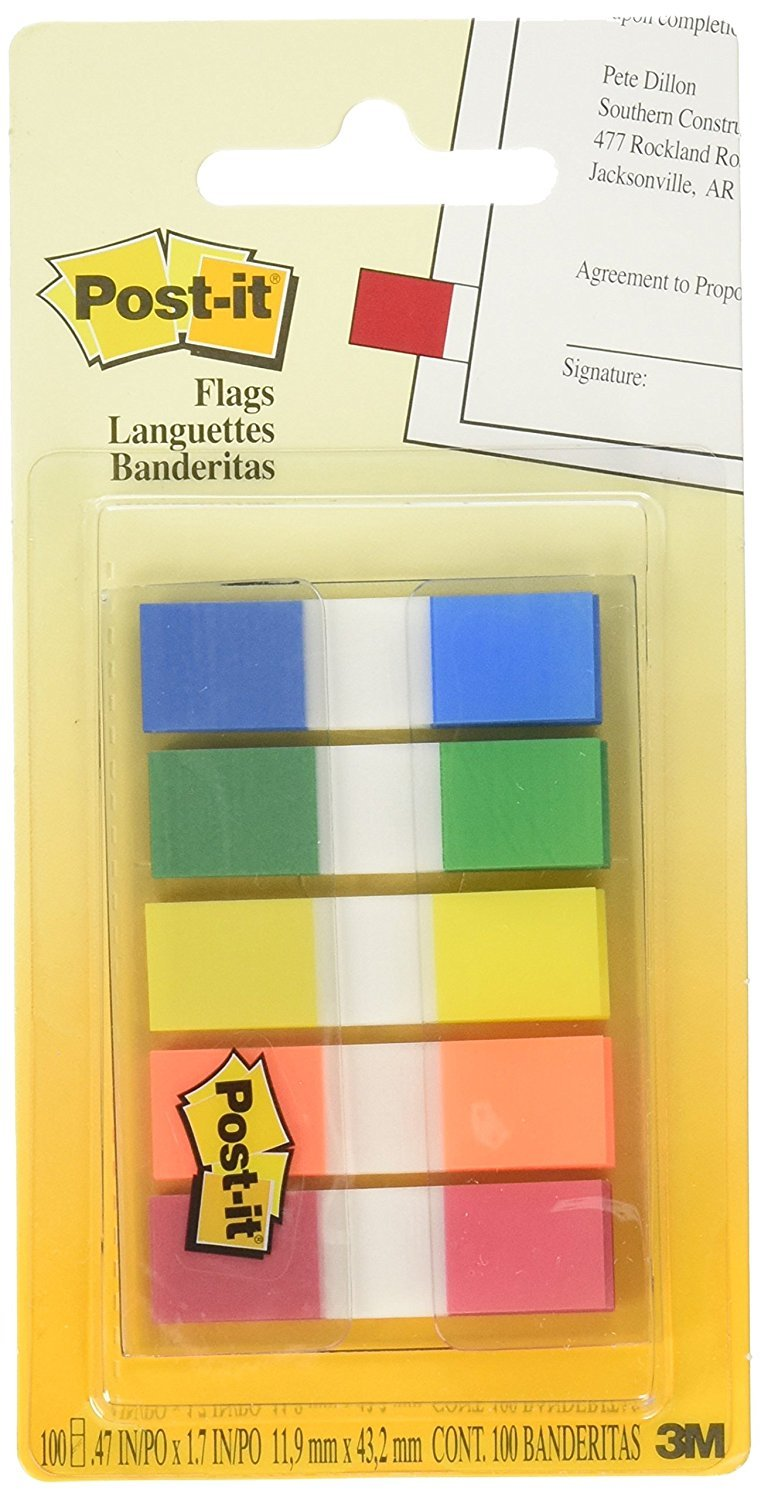 Post-it Flags with On-the-Go Dispenser, Assorted Primary Colors, 1/2-Inch Wide RLNG, 100/Dispenser, 1-Dispenser/Pack, 6-PACK