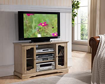 Kings Brand Furniture Antique White TV Stand Entertainment Center With Storage