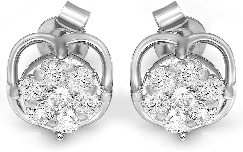 Friendly Diamonds IGI Certified 1/2 Ct to 1 carat Diamond Earrings 10K & 14K White Gold Lab Grown Cluster Diamond Earrings For Women Lab Created Diamond Stud Earrings for her
