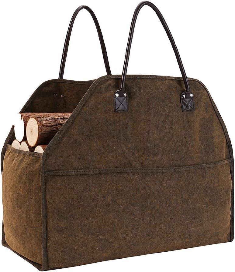 Bolsa de lona resistente para leña o leña, 23.6 x 10.6 x 11.6 pulgadas, soporte para leña, portador de madera para leña, extremo cerrado con 2 asas de piel