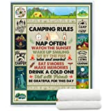 YunTu Camping Rules Signs for Campers Super Soft and Warm Sherpa Blankets for Bed Sofa and Couch Camping Themed Blanket for W