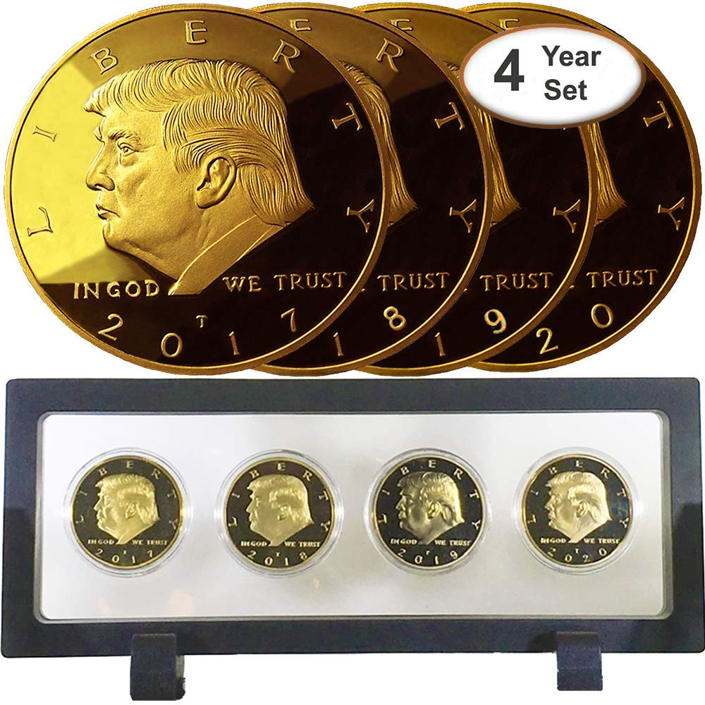 Donald Trump 4 Gold Coin Set, 45th 1st Term Presidential Collector's Edition, Commemorative Gold Plated Replica Coins 2017-2018 – 2019-2020, Rectangl Display Case, Cert Of Authenticity