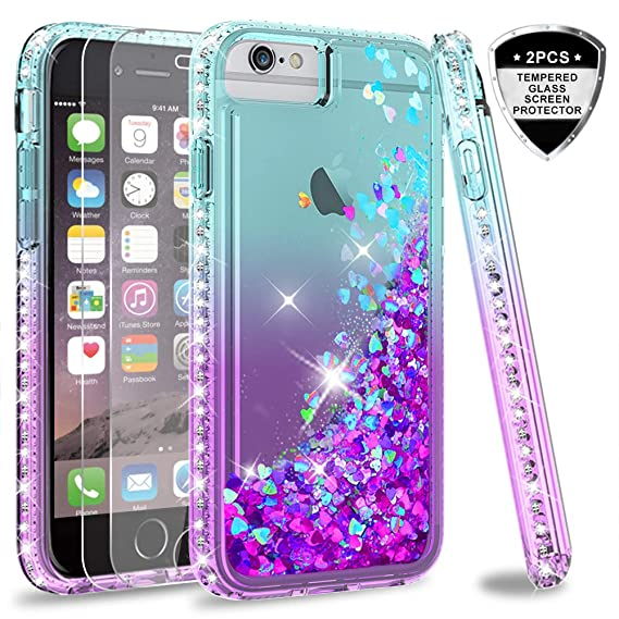 los angeles 6c53d 71771 iPhone 6s / 6 Case, iPhone 7 Case, iPhone 8 Glitter Case with Tempered  Glass Screen Protector [2Pack] for Girls Women,LeYi Moving Quicksand Clear  ...