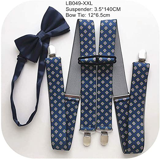 Unisex Adjustable Braces Adults Clip on Suspender Checkered Print