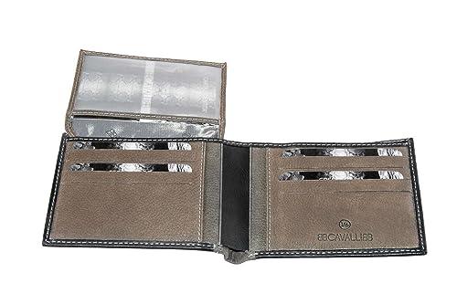 Cartera hombre B.CAVALLI negro taupe y cuero porta tarjetas de credito A4365: Amazon.es: Zapatos y complementos