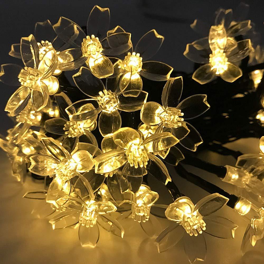 JZK 6.5m Impermeabile catena luminosa led solare da esterno interno fiore stringa lucine luci a LED bianco caldo per decorazione giardino natale matrimonio