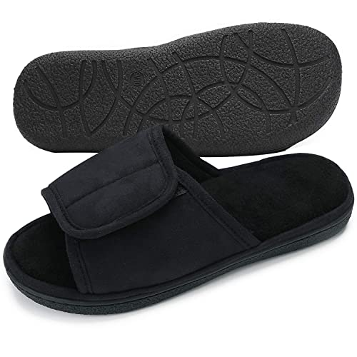 f6adc24399f99 Urbancolor Men's Adjustable Slippers Breathable Open-Toe Spa Slide Indoor  Outdoor Diabetic Arthritis Edema Slipper