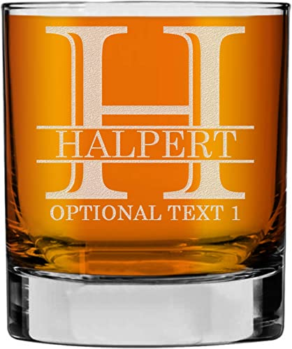 Halpert Personalized Etched Monogram 10.25oz Whiskey Rocks Glass