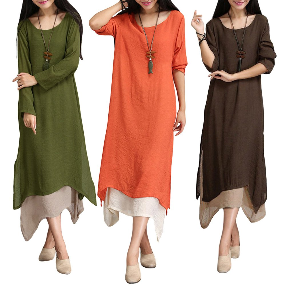 8fd7f19a577 Romacci Women s Casual Vintage Long Sleeve Loose Cotton Linen Boho Maxi  Dress Plus Size at Amazon Women s Clothing store