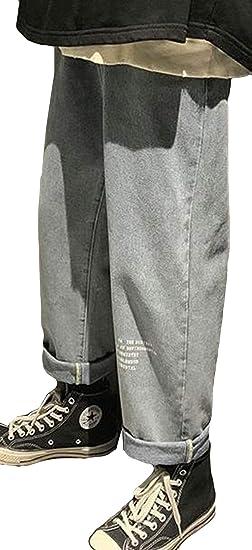 Alhylaデニム パンツ メンズ ロング カジュアル ポケット付き ワイドパンツ 英字付け 無地九分丈 秋 冬 おしゃれ かっこいい 韓国風 通勤 ファッション