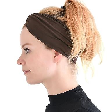 Casualbox Men Japanese Elastic Headband Hair Band Accessory Sport Brown b1f62e2e4df