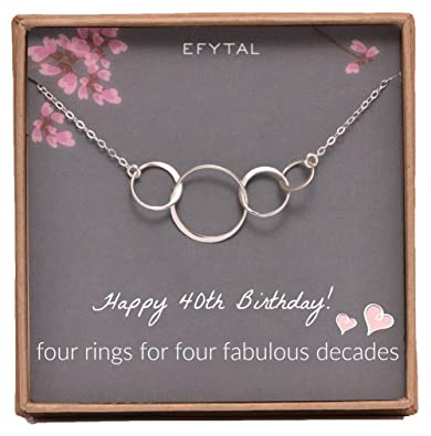 EFYTAL 40th Birthday Gifts Women Sterling Silver Four Circle Necklace Her 4 Decade Jewelry 40