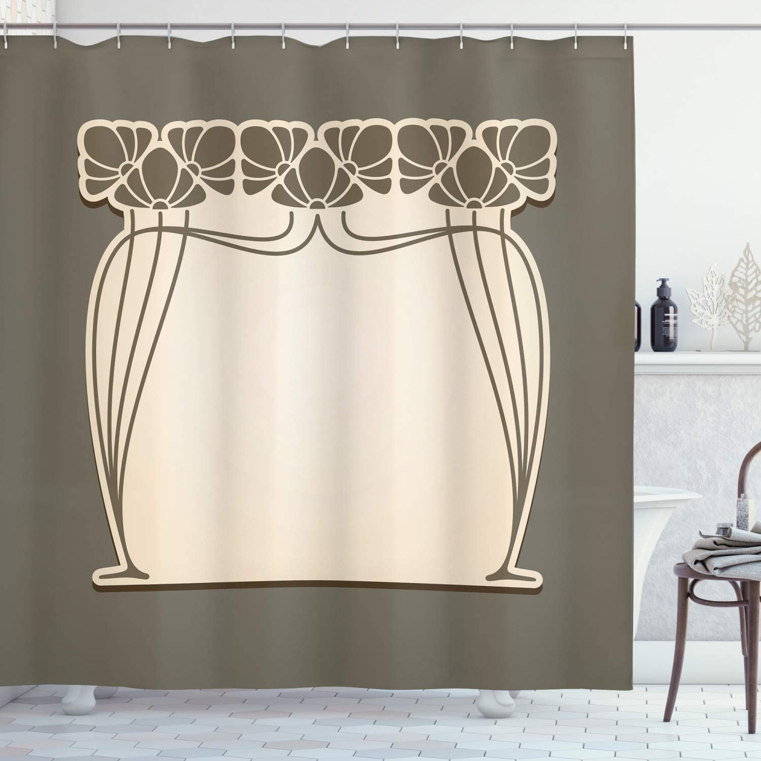 """Ambesonne Art Nouveau Shower Curtain, Flower Bouquets Forming an Arch Vintage Style Feminine Old Fashioned, Cloth Fabric Bathroom Decor Set with Hooks, 70"""" Long, Sage Green"""