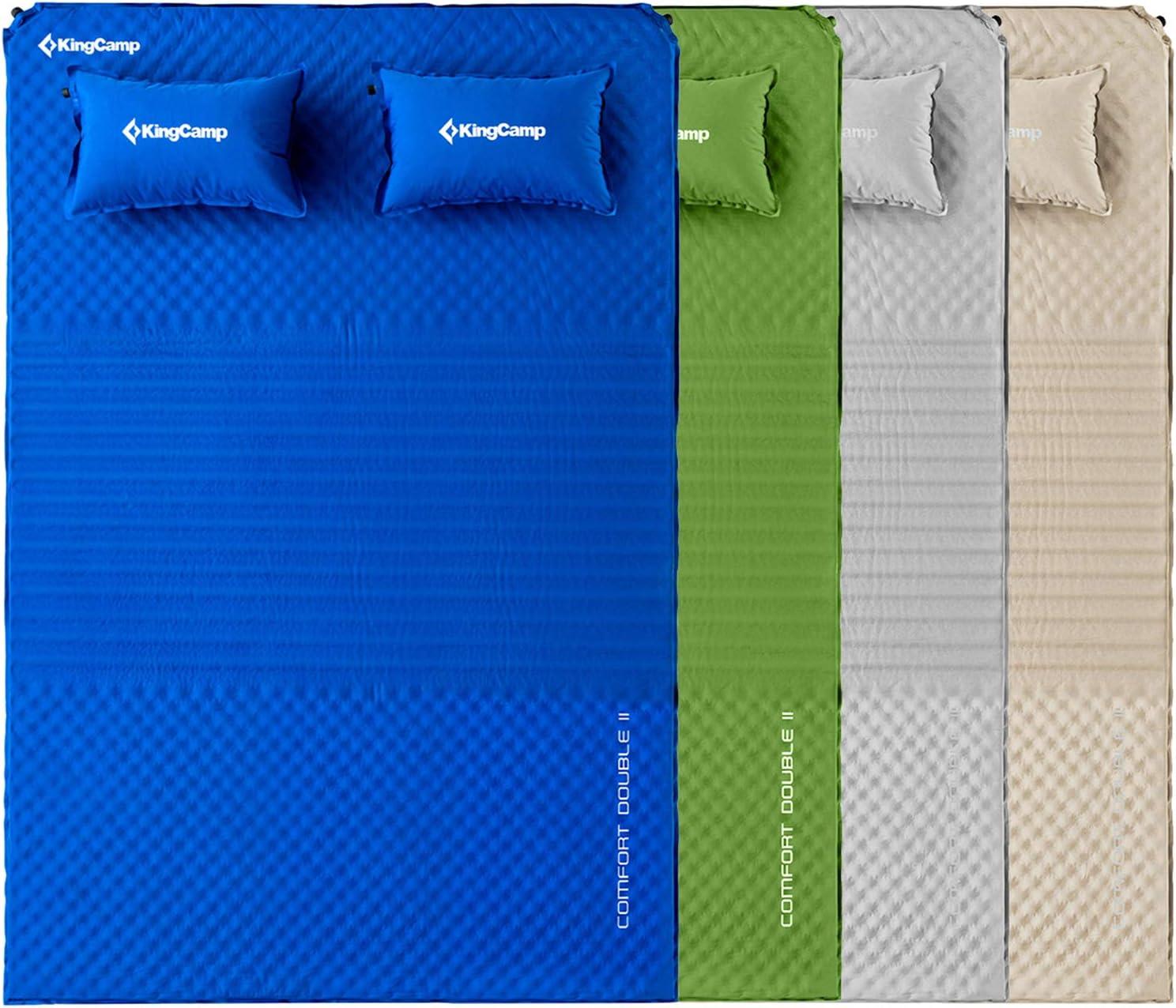 KingCamp Colchón autoinflable para cama de camping de 3 secciones, con almohada de 198 x 130 x 4 cm