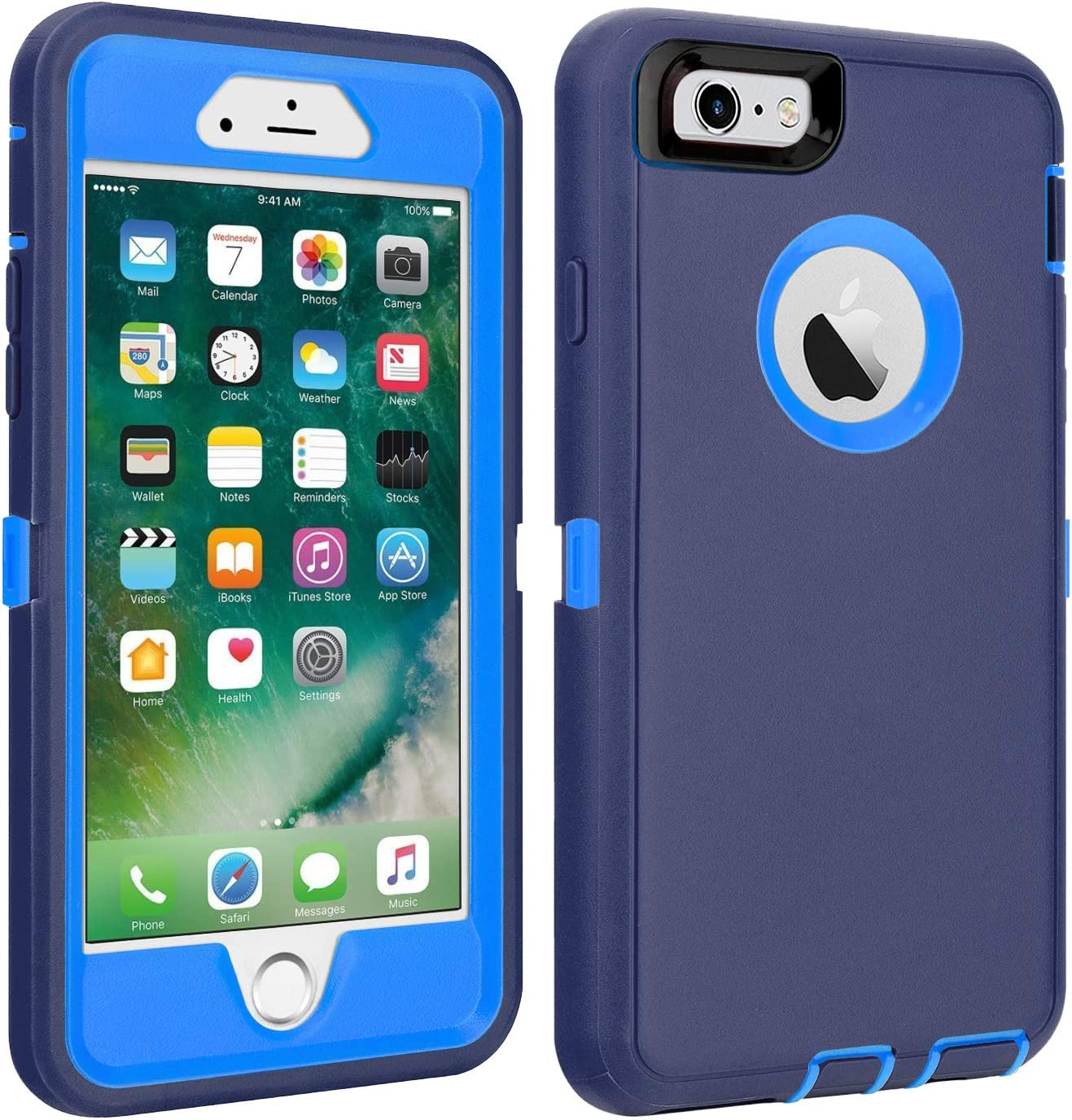"""iPhone 6/6S Case Shockproof High Impact Tough Rubber Rugged Hybrid Case Silicone Triple Protective Anti-Shock Shatter-Resistant Mobile Phone Case for iPhone 6/6S 4.7""""(Navy Blue)"""