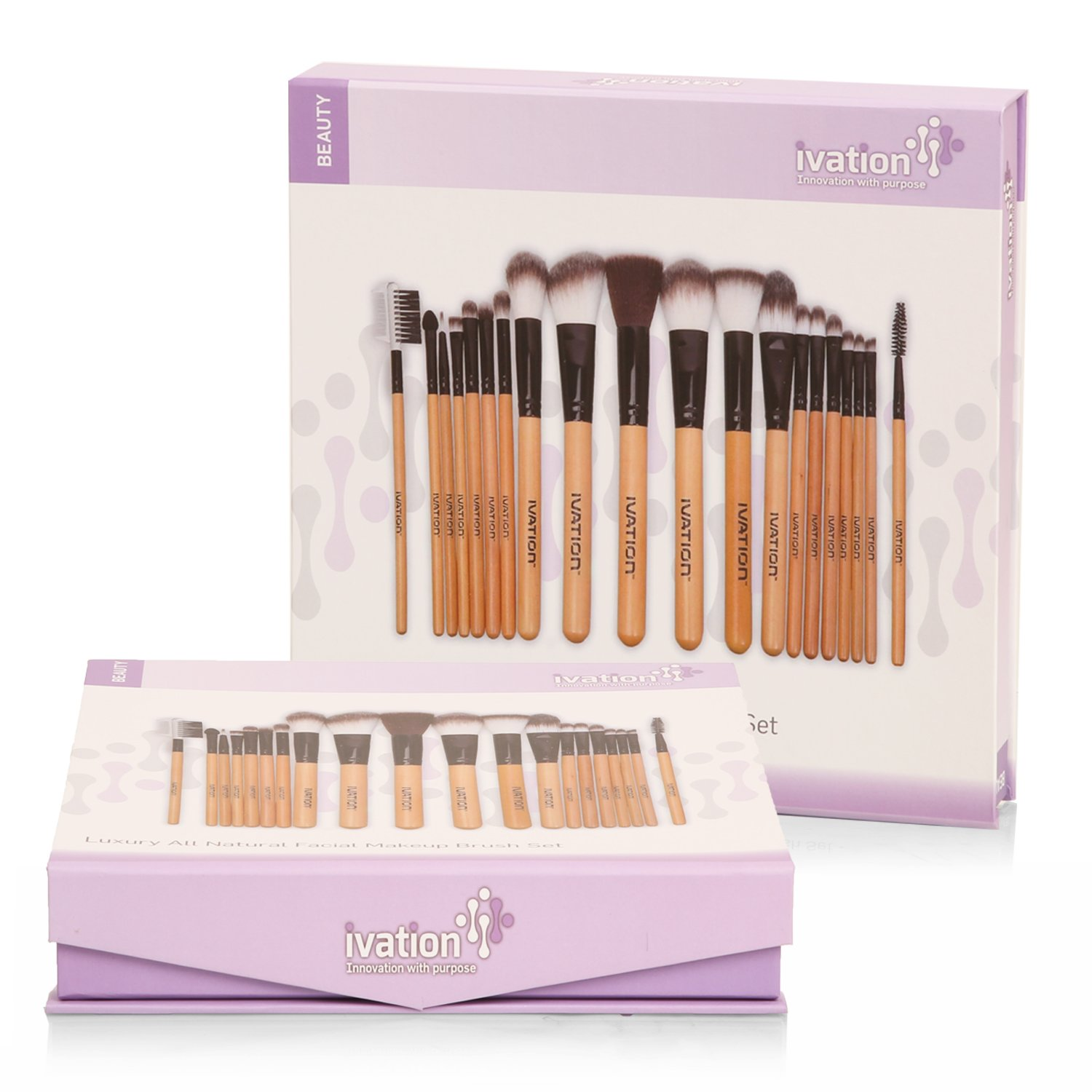 Ivation Cosmetics Natural Facial Makeup Brush Set with ...