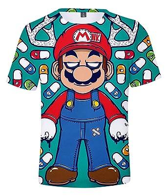 SIMYJOY Kinder Super Mario T-Shirt 3D Druck Nintendo-Spiele Alle ...