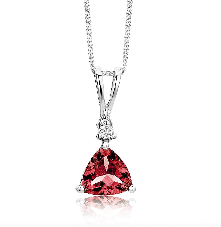 Miore - Collar de mujer de oro blanco (9k) con 1 diamante y 1 granate