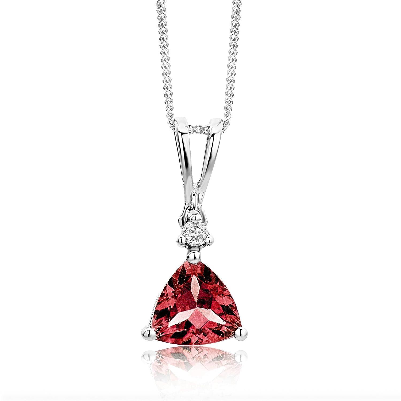 Miore Collar de mujer de oro blanco k con diamante y granate