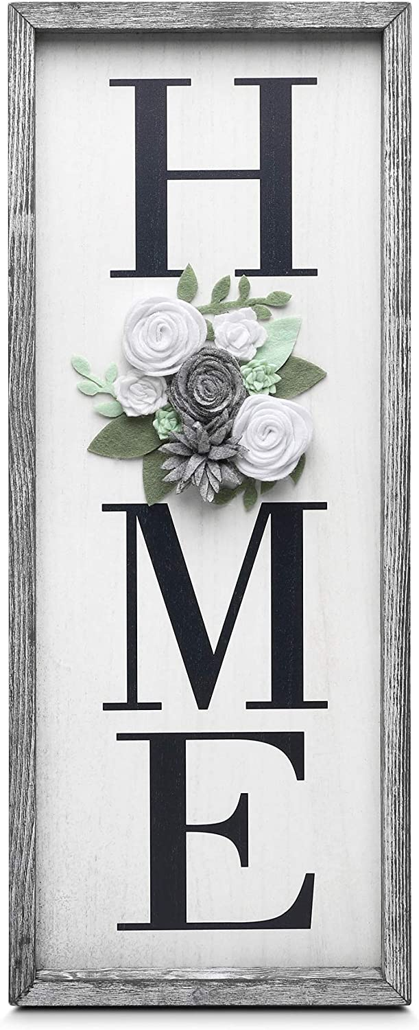 GBtroo Vertical Wooden Signs for Home Decor Farmhouse Vertical Wood Framed Sign for Home Decor, Gallery Wall Art,Home Plaque Wall Hanging Sign 21.7x8.6, Rustic Grey