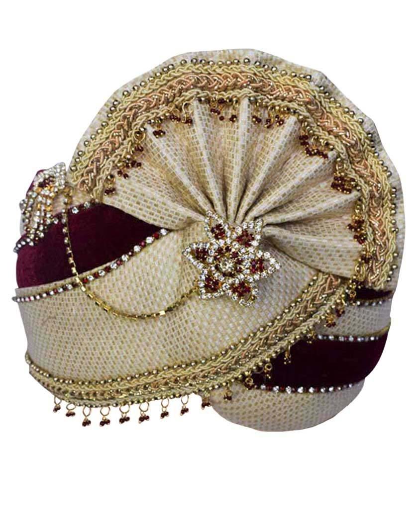 INMONARCH Mens Latest Wedding Turban Pagari Safa Groom Hats TU1089 22-Inch Maroon-Golden