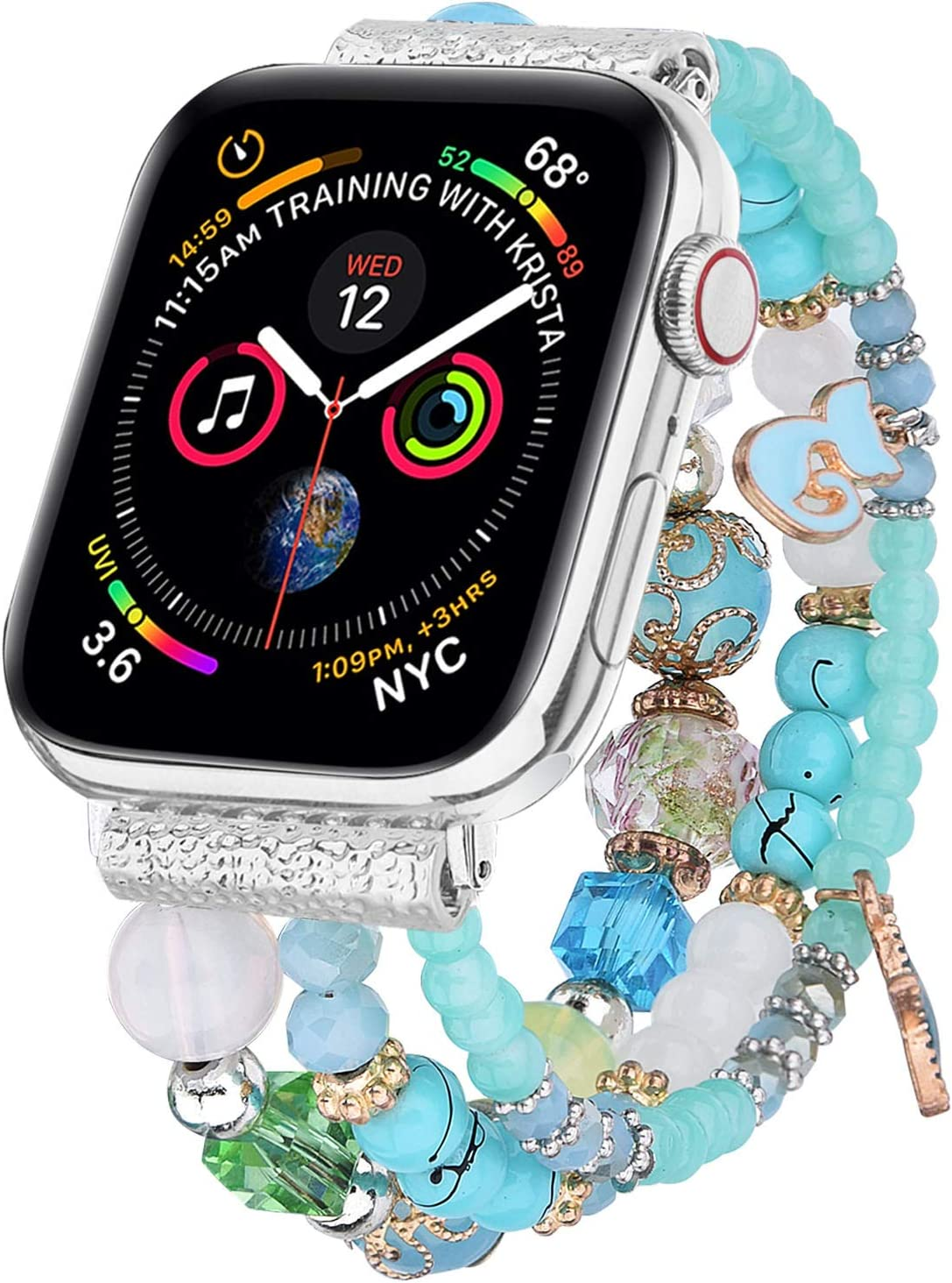 V-MORO Bracelet Compatible with Apple Watch Band 40mm/38mm Series 6/5 Women Fashion Handmade Elastic Stretch Beads Replacement for iWatch Series 4/3/2/1 38mm/40mm Blue/Green Girls