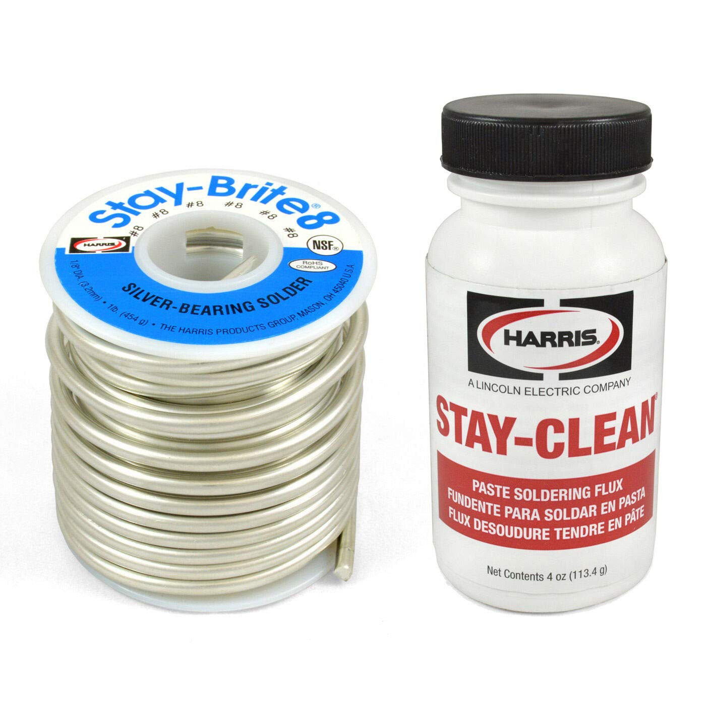 Combo Set Harris Solder Kit SB861 & SCPF4 - Stay-Brite #8 Silver Bearing Solder with Flux